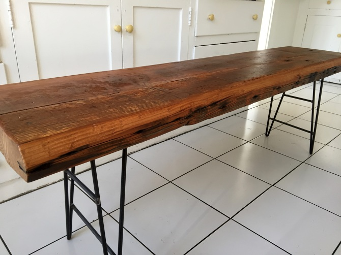 Reclaimed Old Growth Douglas Fir Slab Bench Ambrose